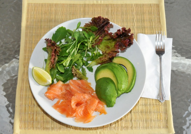 Spring salad, smoked salmon and avocado