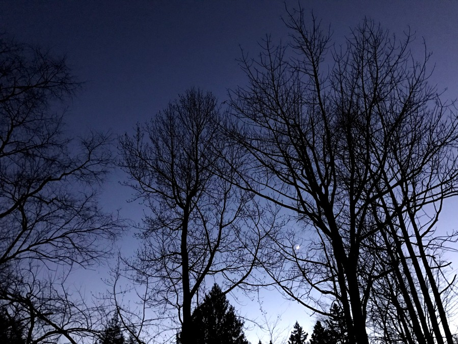 The sun set at 5pm, however there was still some light at the horizon. The moon has already rise